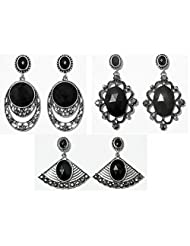 DollsofIndia Set Of Three Faux Black Onyx Stone Studded Dangle Earrings - Stone And Metal - Black