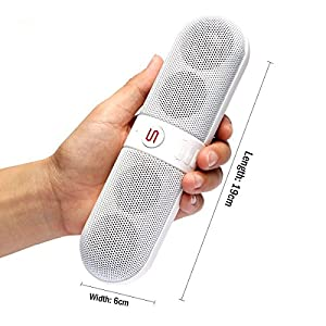 Wireless Bluetooth Speakers, Portable Stereo Bluetooth Speakers with HD Audio and Surround Sound, Outdoor Pill Speakers with Built-in Microphone
