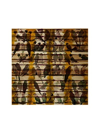 Parvez Taj Birds In Bunches Pine Wood Wall Art