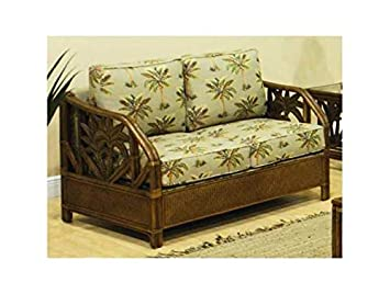 Upholstered Rattan & Wicker Loveseat w Cushions (Air Blue)