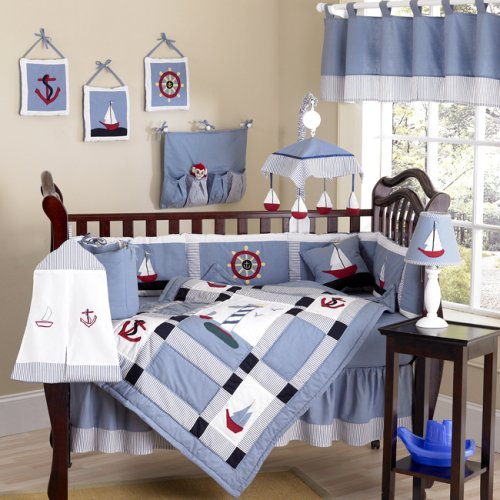 Come Sail Away Nautical Sail Boat Blue and white Baby Boy Bedding 9pc Crib Set by Sweet Jojo Designs