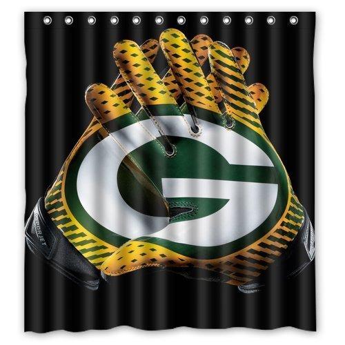 Custom Green Bay Packers Waterproof Fabric Bathroom Shower Curtain 66