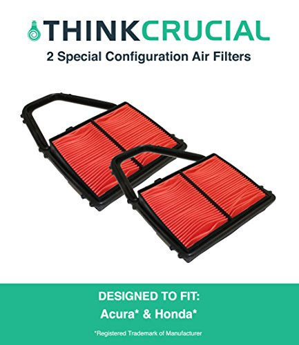2 Premium Special Configuration Air Filter Fits Acura EL Canada, Honda Civic, Maximum Air Flow, 6.88 x 3.13 x 5.42 in., Part # A35397 & CA8911, by Think Crucial