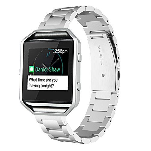 Fitbit Blaze compatible Accessory Band, Metal, Silver, V-Moro Solid Stainless Steel Fitbit Blaze Strap Business Replacement Band Watchband with tools...