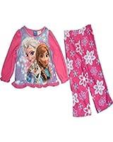 Disney Frozen Elsa Anna Olaf 2 Piece Winter Snowflake Fleece Pajama Set