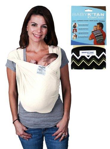 Baby K Tan Bundle - 2 items: Baby Carrier - Medium (Natural Organic) AND K Tan Cloth (Zig Zag)