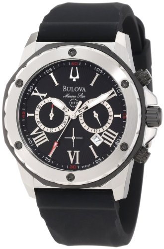 Bulova Men's 98B127 Black Rubber Quartz Watch with Black Dial