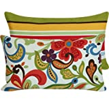 Chloe & Olive Flora Bunga Collection Floral and Stripes Outdoor Lumbar Pillow Cover, 12 by 20-Inch, Multicolor