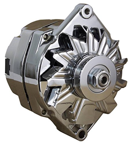 NEW CHROME CHEVY ALTERNATOR FITS 110 AMP 3-WIRE OR 1-ONE WIRE Setup 65-85 SELF EXCITING (Chrome Alternators compare prices)
