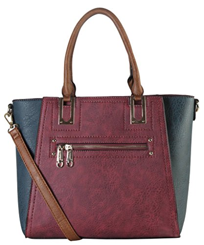 diophy-pu-leather-two-tone-front-zipper-multi-spaced-tote-womens-purse-handbag-se-3386