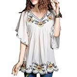 Floral Embroidered Butterfly Sleeve Wrap Peasant Blouse