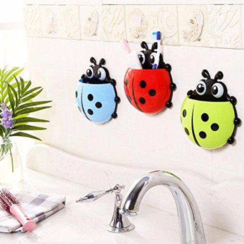 Cute Ladybug Insect Toothbrush Wall Suction Bathroom Sets Cartoon Sucker Toothbrush Holder / Suction Hooks -- BLUE (Mentadent Dispenser compare prices)