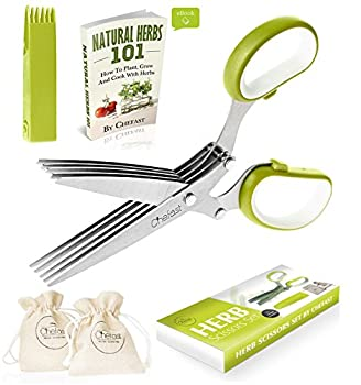 Chefast Herb Scissors Set - Premium Kitchen Shears with 5 Stainless Steel Blades - Multipurpose Herb Bags, Safety Cover with Cleaning Comb, Herbs eBook, and Stylish Box Included by Chefast