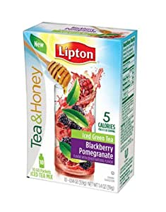 Lipton To Go Stix Iced Green Tea Mix, Tea and Honey, Blackberry Pomegranate, 10-Count (Pack of 12)