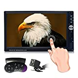 Double Din Car Stereo, 7-Inch Touch Screen Car Radio Media Player Supports Bluetooth/Rear Camera/Steering Wheel/USB/TF with Remote Control