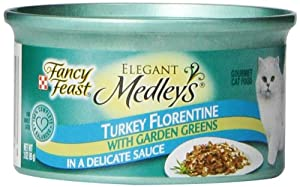 Fancy Feast Gourmet Cat Food, Turkey Florentine in Sauce with Garden Greens, 3-Ounce Cans (Pack of 24)