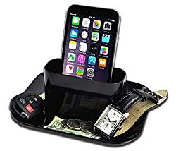 DivineXt Desktop Cell Phone iPhone Charging Station Valet Stand Organizer Tray Universal Holder Cradle Dock Mount Caddy to Charge Mobile Devices - Keeps Keys Money Watches Organized