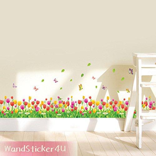 wandsticker4u-blumenwiese-tulpen-mit-schmetterlingen-breite-114-cm-grune-natur-gras-bordure-entfernb