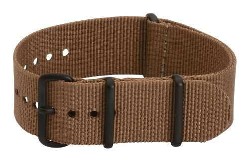 22Mm Premium Nato Pvd Nylon Solid Brown Interchangeable Replacement Watch Strap Band