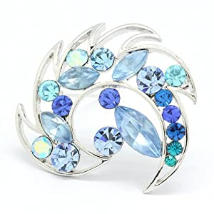 Hot Fashion Noble Charm Fire Alloy Plated 18k White Gold Austria Crystal Brooch Pin Brooches Exquisite Gift