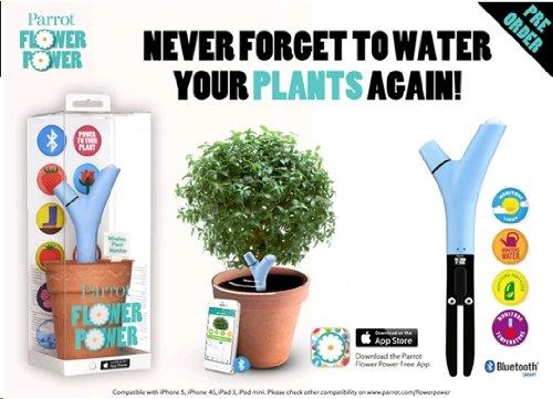 Parrot Flower Power Bluetooth-Enabled Smart Plant Sensor With Free Parrot Flower Power App (Blue)