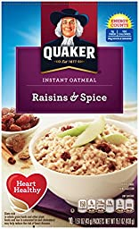 Quaker Instant Oatmeal, Raisin & Spice, Breakfast Cereal, 1.51oz each, 10 Packets Per Box (Pack of 4)