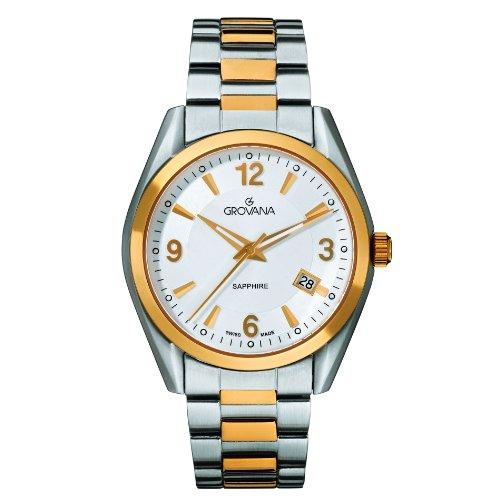 Grovana 1566,1142 - Reloj analógico de cuarzo para hombre, correa de acero inoxidable color plateado