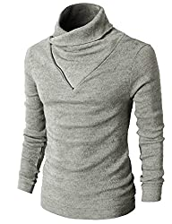H2H Mens Casual Slim Fit Color Point Turtleneck Knit Pullover Sweater GRAY US S/Asia M (KMTTL041)