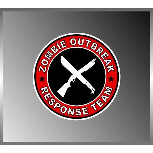 Zombie Outbreak Response Team Shotgun and Machete Vinyl Decal Bumper Sticker 5x5