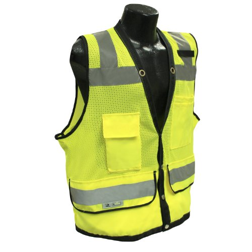 3X Class 2 Heavy Duty Surveyor Safety Vest, Green Mesh Solid, 3 Extra Large