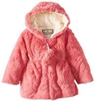 Widgeon Baby-Girls Infant Hooded Pom Pom Coat, Faux Fur Pink, 18 Months