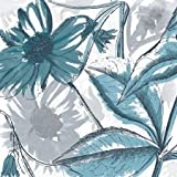 Sketch flowers Metallic teal by Grey, Jace - Fine Art Print on CANVAS : 24 x 24 Inches