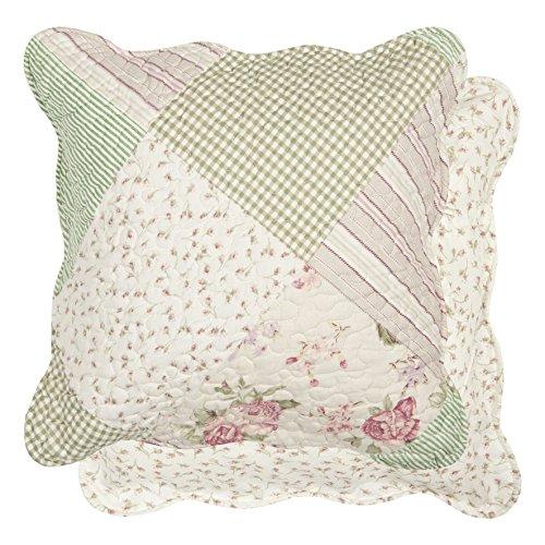Q131.030 Kissen Kissenhülle Kissenbezug weiß/mint grün patchwork 50 x 50 cm
