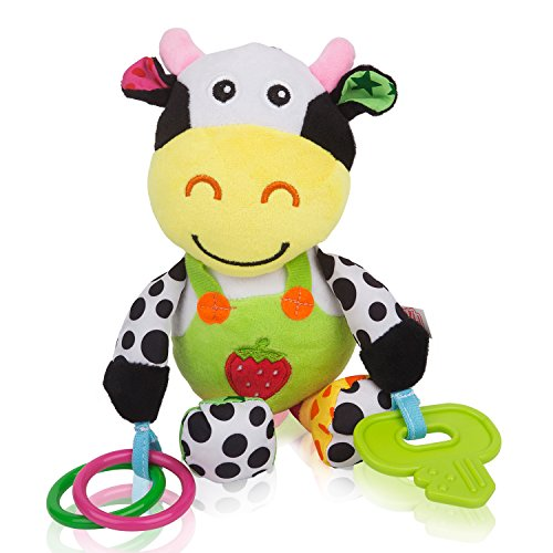 Zig Zag Kid Musical Cow Soft Plush Baby Rattle with Teether