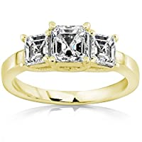 1.5 Carat 3 Stone Asscher Cut GIA Certified Diamond Engagement Ring (G-H Color SI1-SI2 Clarity) from Houston Diamond District