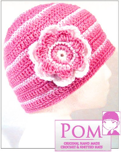 Pom KIDS Crochet Beanie Hat : Candy Pink/White stripe with flower corsage