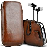 ( Brown + Earphone ) Motorola Moto G (2014) G2 2nd generation Premium Stylish Faux Leather Pull Tab Pouch Skin Case Cover With Premium Quality in Ear Buds Stereo Hands Free Headphones Headset with Built in Microphone Mic and On-Off Button by i-Tronixs