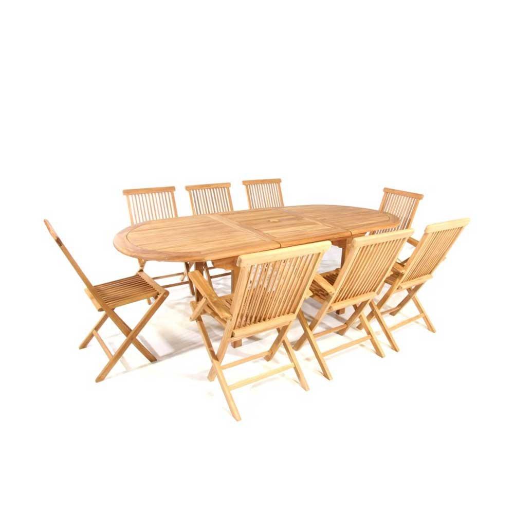 Tischgruppe aus Teak Massivholz für 8 Personen (9-teilig) Pharao24