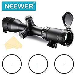 Neewer® 1.5-6X42IR Waterproof Fogproof Shockproof Objective Diameter 24mm Magnification 1X-4X AR Optics FFP Illuminated Varmint Target Dot Riflescope with Target Turrets and Throw Down PC V4203IR