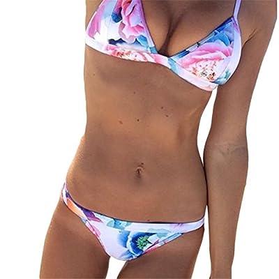 SZHEM Womens Froal Bikini Set Swimwear Low waist Swimsuit Beach Wear Bathing Suits