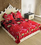 Home Candy Elegant Floral  3-D Reactive Print Double Bedsheet with 2 Pillow Covers - Multicolor (SRB-BST-304)