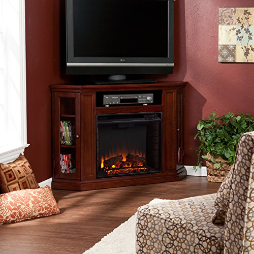 Convertible Electric Fireplace With Cabinet , Tv Media Stand Console - Cherry