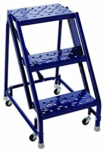 Louisville Ladder GSW1603A-W03 Steel Rolling Warehouse Ladder, 3-Step, 450 Pound Duty Rating