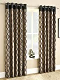 Luxury Flock Printed Faux Silk Readymade Lined Eyelet Curtains, Natural / Black - 66