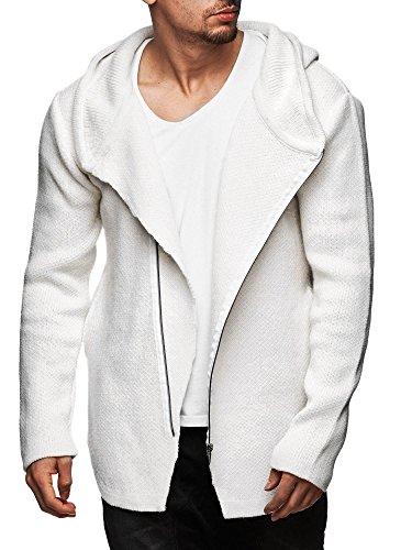 S!RPREME Herren Oversize Zipped Strickjacke mit Kapuze Pullover Jacke Hoodie Hoody 8024CECE Weiss M