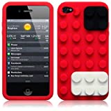 IPhone 4S / iPhone 4 Red Brick Style Silicone Skin Case / Cover / Shell