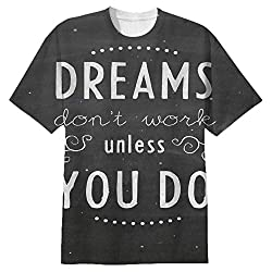 Snoogg Dreams Do Not Work Until You Do Mens Casual All Over Printed T Shirts Tees