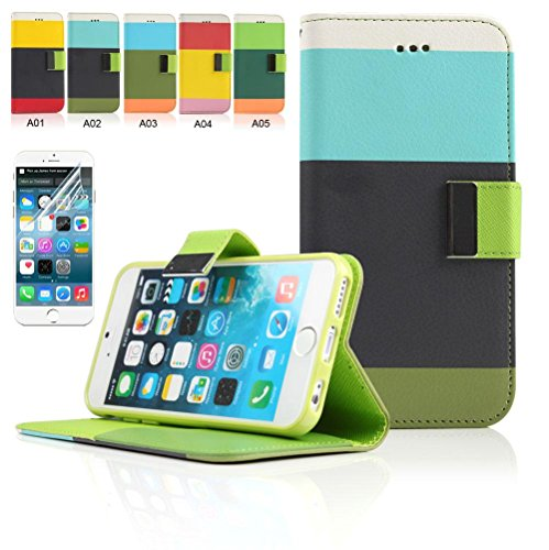 "iPhone 6 Plus Case, Boriyuan New Stylish Colorful Protective Ultra Thin Wallet Folio Flip PU Leather Case Cover for Apple iPhone 6 Plus 5.5 Inch Smartphone, [Built-in Cash/ Credit/ ID Card Holder Slots and Stand Feature] with a Free Screen Protector (5.5"" Pattern 3)"