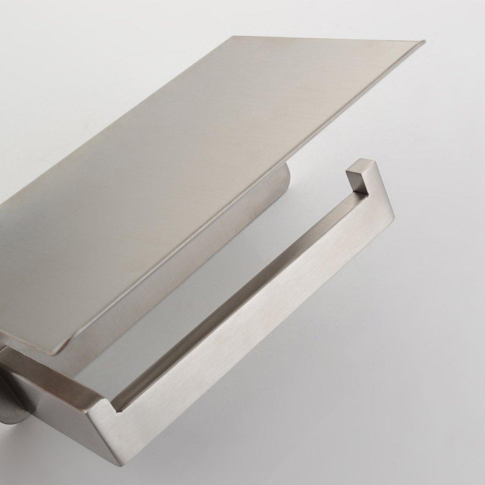 APL Toilet Paper Holder, SUS304 Stainless Steel Bathroom Paper Tissue Holder with Mobile Phone Storage Shelf Rack Brushed Nickel