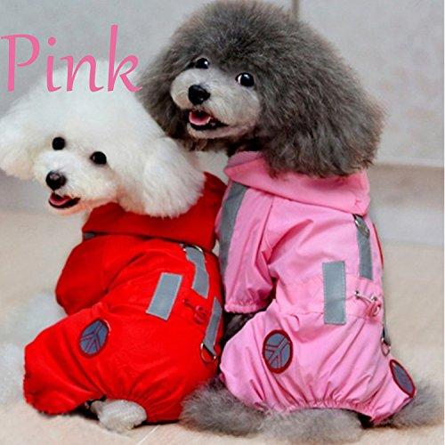 Haustier Hund wasserdichtes Polyester Regen Slicker Regenmantel Haustier Stoff Kleidung Welpe Hoodie Kleidung Mantel Bekleidung Zubehör mit Hut Pink Größe L -